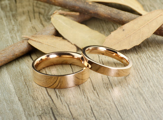Handmade Rose Gold Flat Plain Matching Wedding Bands, Couple Rings Set, Titanium Rings Set, Anniversary Rings Set