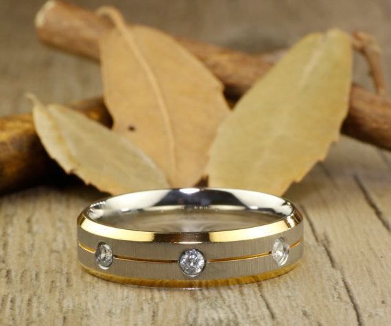 Handmade Customize Gold Wedding Band, Men Ring, Couple Ring, Titanium Ring, Anniversary Ring - jringstudio