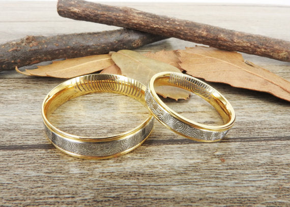 Your Actual Finger Print Rings, Handmade Gold Wedding Bands, Couple Rings Set, Titanium Rings Set, Anniversary Rings Set