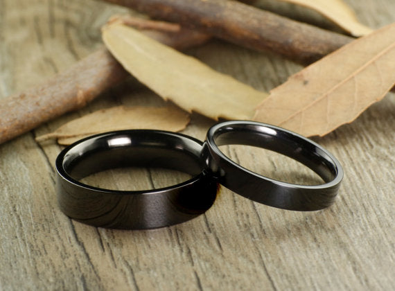 His and Her Promise Rings Black Wedding Titanium Rings Set Anniversary Titanium Rings Set