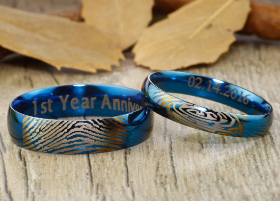 Your Actual Finger Print Rings, Personalized His and Her PROMISE RING - Handmade Blue Anywords Wedding Titanium Rings Set