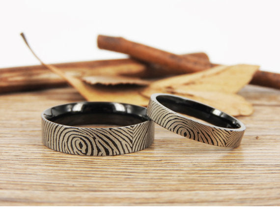 Your Actual Finger Print Rings, Family Fingerprints, Matching FingerPrint Ring, His and Her Promise Rings - Black Wedding Titanium Rings Set