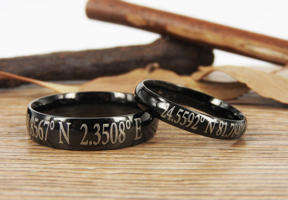 Latitude Longitude Ring, Custom Coordinate Jewelry - Engraved Titanium Rings Set - Coordinates Rings