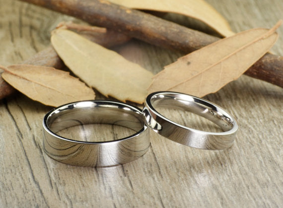 His and Her Promise Rings Sliver Wedding Titanium Rings Set Anniversary Titanium Rings Set