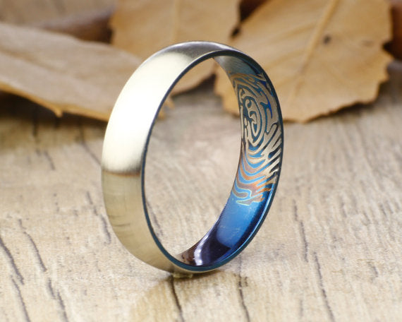 Your Actual Finger Print Rings, Handmade Any size Blue Finger Print Ring, Women Ring, Couple Ring, Titanium Ring, Anniversary Ring,5mm width