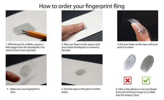 Your Actual Finger Print Rings, PROMISE RING - Sliver Matte Titanium Rings 7mm