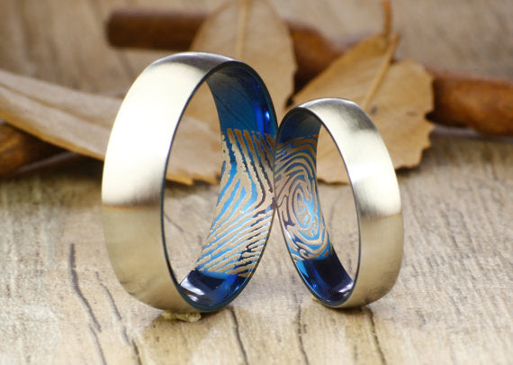 Your Actual Finger Print Rings Set, Handmade Blue Matte, His and Her Wedding Bands, Couple Rings Set, Titanium Anniversary Rings Set