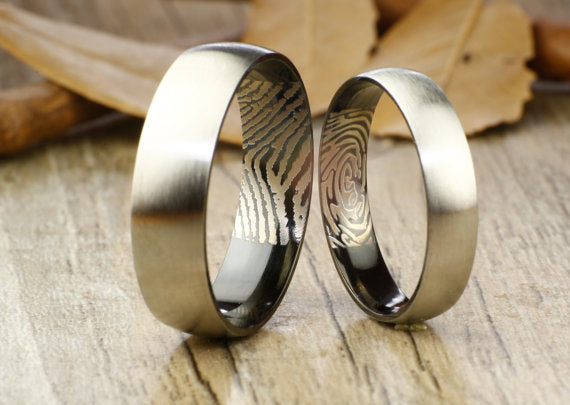 Your Actual Finger Print Rings, WEDDING RING - Personalized Matt Two Tone Black Wedding Titanium Rings Set