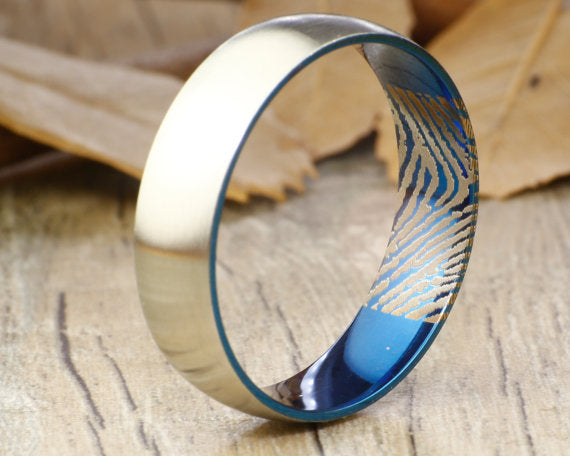 Your Actual Finger Print Rings, Handmade Men Dome RINGS - Two Tone Blue Titanium Ring 7mm