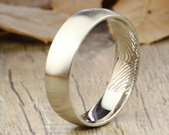 Your Actual Finger Print Rings, Handmade Men Wome RINGS - Matte Silver Titanium Rings 7mm