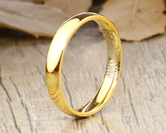 Your Actual Finger Print Ring, Women Ring, Handmade 18K Gold Wedding Anniversary Ring 4mm