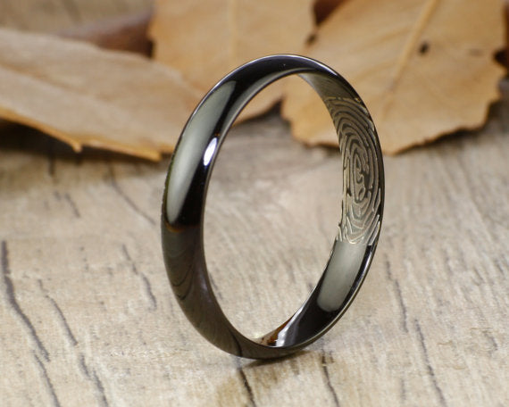 Your Actual Finger Print Rings, PROMISE RING - Women Ring, Black Titanium Rings 4mm