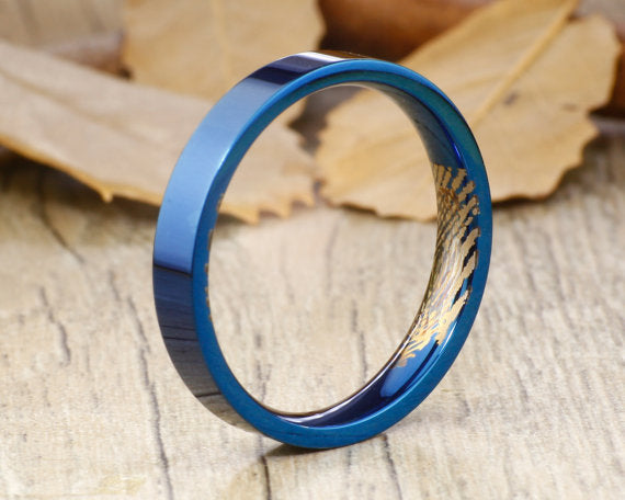 Your Actual Finger Print Rings, Handmade Blue Flat Plain Finger Print Ring, Wedding Band, Women Ring, Couple Ring, Titanium Ring