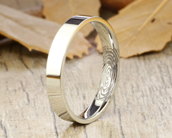 Your Actual Finger Print Rings, Handmade Flat Plain Finger Print Ring, Female Ring, Wedding Band, Women Ring, Titanium Ring,Anniversary Ring