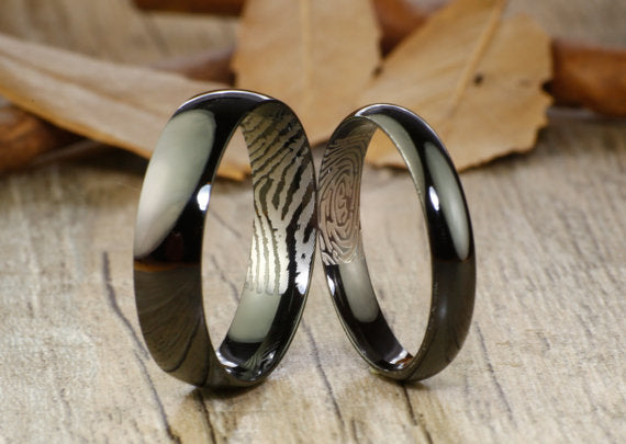 Your Actual Finger Print Rings, Handmade Black Dome Plain Finger Print Rings, His and Her Rings, Matching Wedding Bands, Titanium Rings Set