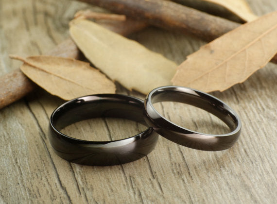 His and Her Couple Rings Set, Titanium Rings Set, Anniversary Rings Set