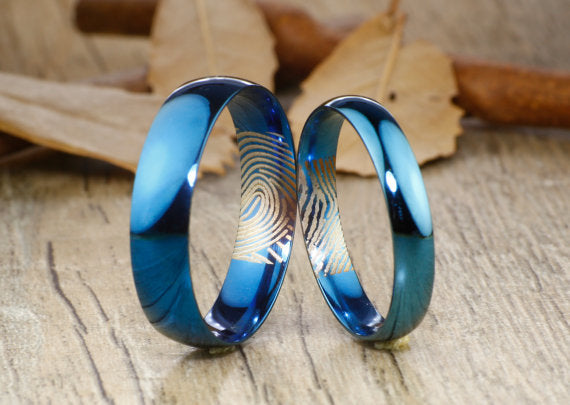 Your Actual Finger Print Rings, Handmade Blue Anywords His&Her Matching Wedding Engagement Titanium Rings Set Court Shape