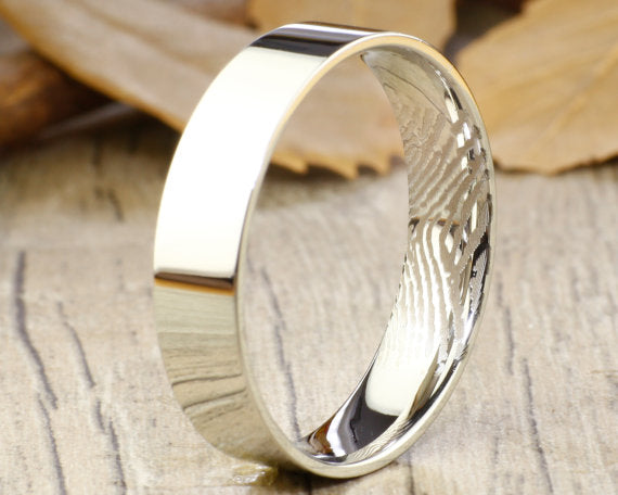 Your Actual Finger Print Rings Wedding Ring Men Ring White Gold To