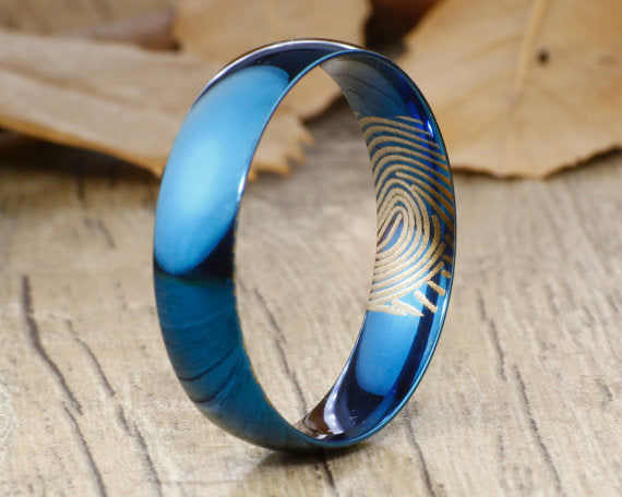 Your Actual Finger Print Rings, WEDDING RING - Men Ring, Dome Blue Titanium Rings 6mm