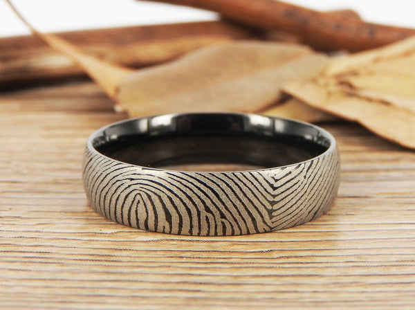 Your Actual Finger Print Rings,Family Fingerprints, Matching FingerPrint Ring, His and Her Promise Rings - Black Wedding Titanium Rings Set