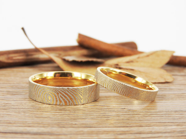 Your Actual Finger Print Rings,Family Fingerprints, Matching FingerPrint Ring,  Handmade His and Hers Matching  Gold Wedding  Rings Set