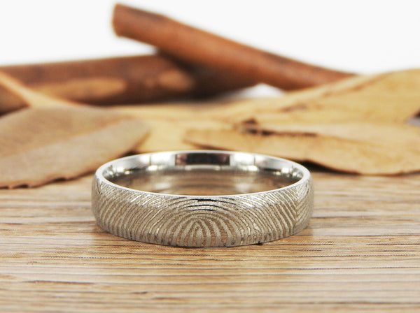 Your Actual Finger Print Rings, Family Fingerprints, Matching FingerPrint Ring, His and Her Promise Rings  Wedding Titanium Rings Set