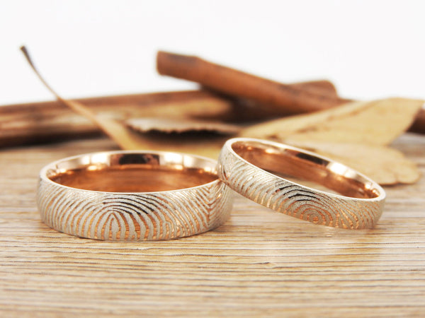 Your Actual Finger Print Rings,Family Fingerprints, Matching FingerPrint Ring,  His and Her Promise Rings,  Rose Gold Wedding  Rings Set