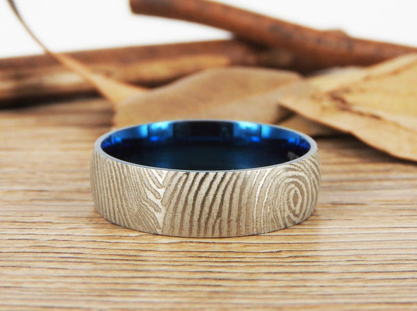 Your Actual Finger Print Rings, WEDDING RING, Family Fingerprints, Matching FingerPrint Ring, Blue Wedding Titanium Rings Set