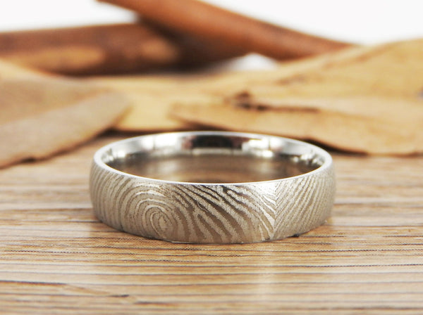 Your Actual Finger Print Rings, Custom Gifts His and Her Rings, Family Fingerprints, Matching FingerPrint Ring, Wedding Titanium Rings Set