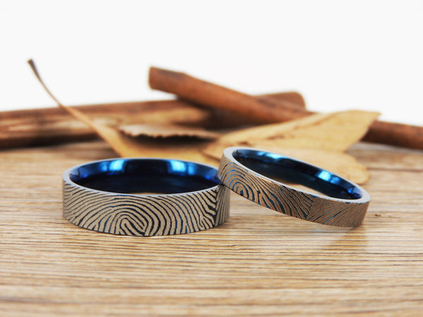 Your Actual Finger Print Rings, Family Fingerprints, Matching FingerPrint Ring,  His & Hers  Matching Blue Titanium Wedding Bands Rings Set
