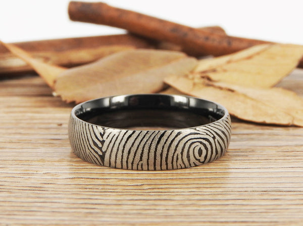 Your Actual Finger Print Rings, Family Fingerprints, Friendship Rings, Men Ring, Father's Gift, WEDDING RING - Black Titanium Rings 6mm