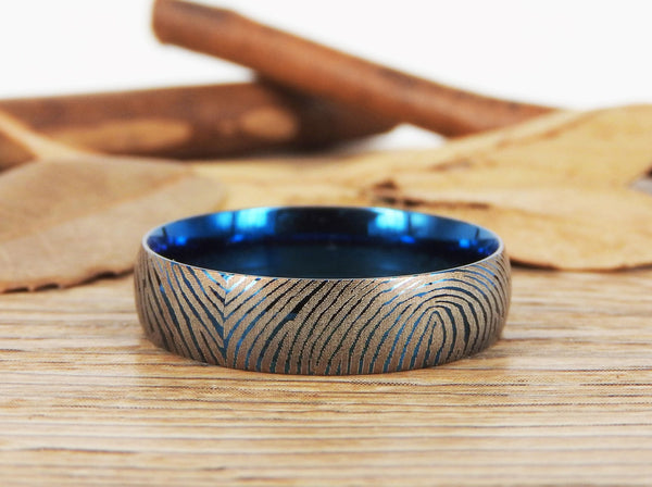 Your Actual Finger Print Rings, Family Fingerprints, Friendship Rings, Men Ring, Father's Gift, WEDDING RING -  Blue Titanium Rings 6mm