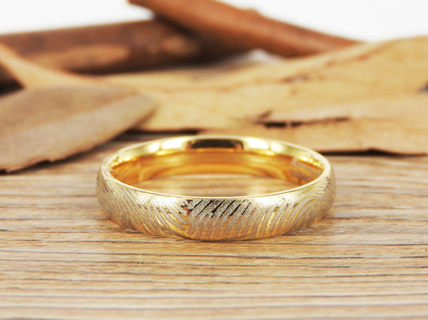 Your Actual Finger Print Rings, Family Fingerprints, Friendship Rings, Women Ring,  WEDDING RING -  Gold Titanium Rings 4mm