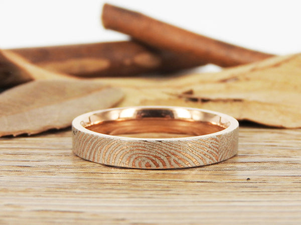 Your Actual Finger Print Rings, Family Fingerprints, Friendship Rings, Women Ring,  WEDDING RING - Rose Gold Titanium Rings 4mm