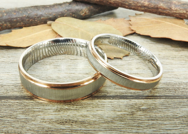 Your Actual Finger Print Rings,Handmade Rose Gold Matte Matching Wedding Bands, Couple Rings Set, Titanium Rings Set, Anniversary Rings Set