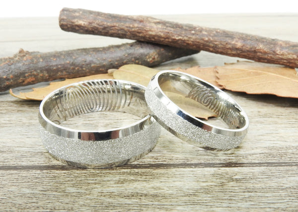 Your Actual Finger Print Rings, His and Her Rings, Handmade Wedding Bands, Couple Rings Set, Titanium Rings Set, Anniversary Rings Set