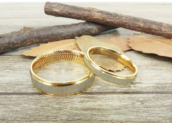 Your Actual Finger Print Rings, Handmade Gold Matte Wedding Bands, Couple Rings Set, Titanium Rings Set, Anniversary Rings Set