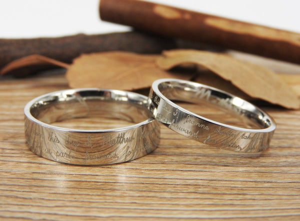 Handmade Your Marriage Vow & Signature Rings Wedding Rings, Matching Wedding Bands, Titanium Couple Rings Set
