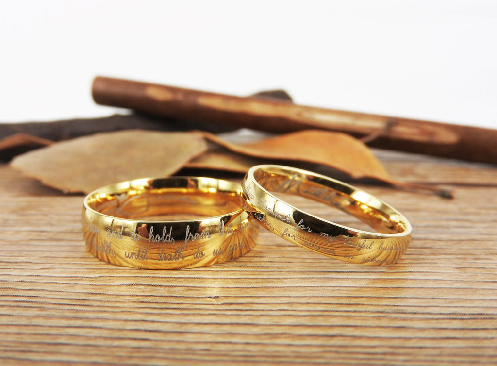 Handmade Your Marriage Vow Signature Rings Wedding Rings Glod Match