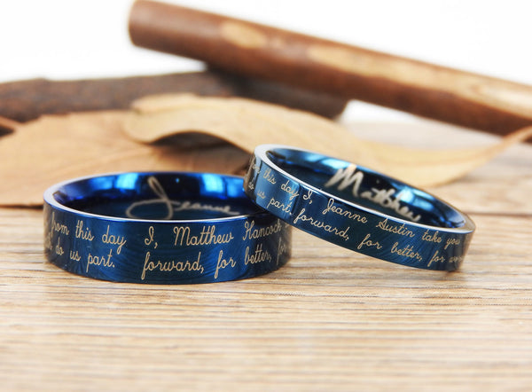 Handmade Your Marriage Vow & Signature Rings Wedding Rings, Blue Matching Wedding Bands, Titanium Couple Rings Set