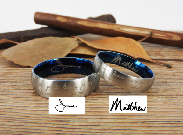Handmade Your Marriage Vow & Signature Rings Wedding Rings, Two Tones Matching Wedding Bands, Titanium Couple Rings Set