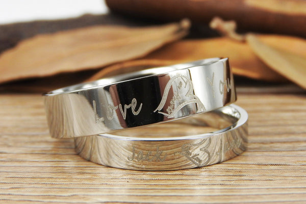 Handmade Two Heart become One Heart Matching Wedding Rings, his and her promise ring, Wedding Rings Set, couple rings