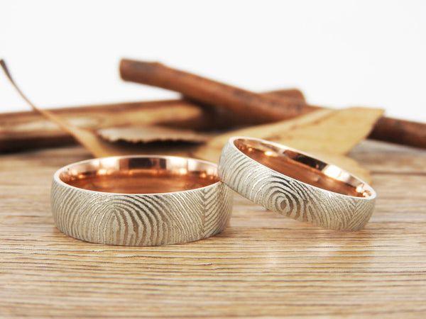 Your Actual Finger Print Rings, WEDDING RING, Family Fingerprints, Matching FingerPrint Ring,  Rose Gold Wedding Titanium Rings Set