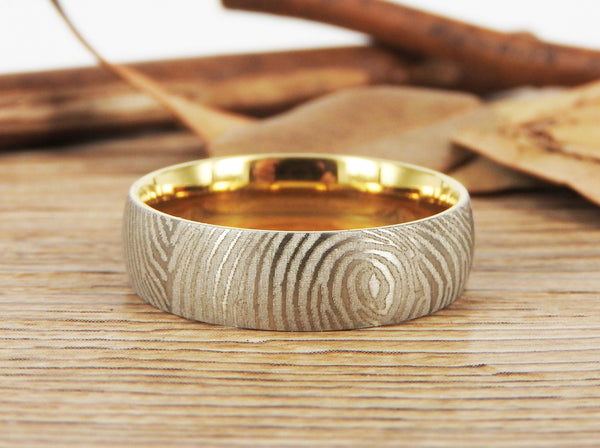 Your Actual Finger Print Rings, WEDDING RING, Family Fingerprints, Matching FingerPrint Ring, Gold Wedding Titanium Rings Set