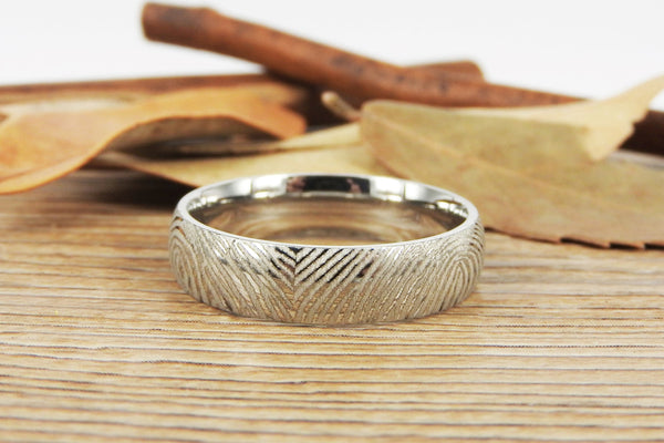 Your Actual Finger Print Rings, Family Fingerprints, Friendship Rings, Men Ring, Father's Gift, WEDDING RING - White Gold Titanium Rings 6mm