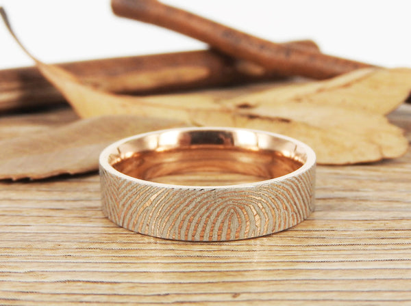 Your Actual Finger Print Rings, Family Fingerprints, Friendship Rings, Men Ring, Father's Gift, WEDDING RING, Rose Gold Titanium Rings 6mm