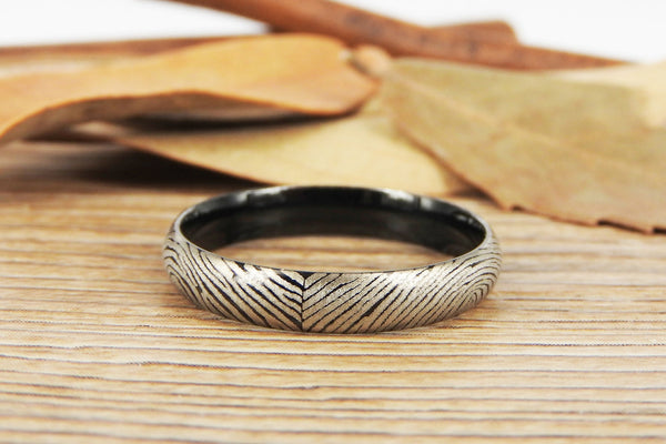Your Actual Finger Print Rings, Family Fingerprints, Friendship Rings, Women Ring, Mother's Gift, WEDDING RING - Black Titanium Rings 4mm
