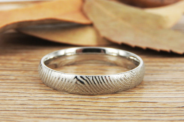 Your Actual Finger Print Rings, Family Fingerprints, Friendship Rings, Women Ring,  WEDDING RING - White Gold Titanium Rings 4mm