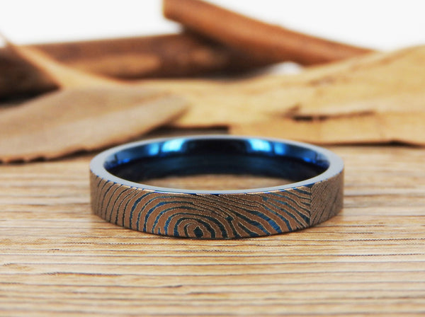 Your Actual Finger Print Rings, Family Fingerprints, Friendship Rings, Women Ring,  WEDDING RING - Blue Titanium Rings 4mm