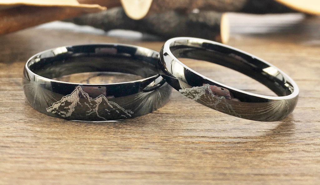 Unique Wedding Ring.Handmade Your Drawings Ring Unique Wedding Bands Black Titanium Wedding Ring Set Couple Rings Set Men Women Ring Polished Dome Shape 4mm 6mm